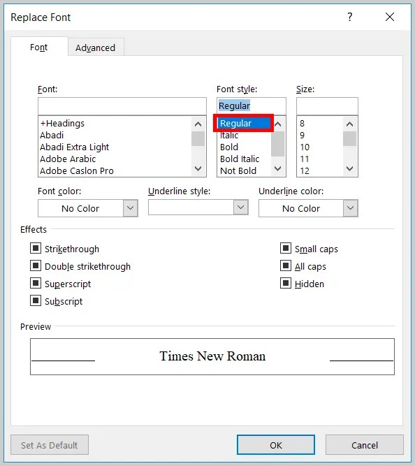 Image of Word 365 / Word 2019 Regular Option in the Replace Font Dialog Box | Step 12 in How to Find and Replace Formatting Applied Anywhere in a Word Document