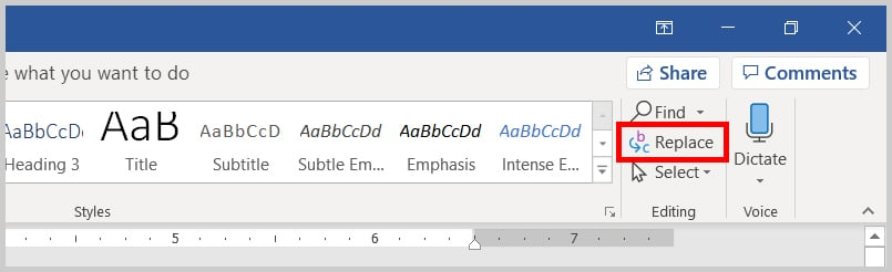 Image of Word 365 / Word 2019 Replace in the Ribbon | Step 2 in How to Find and Replace Formatting Applied Anywhere in a Word Document