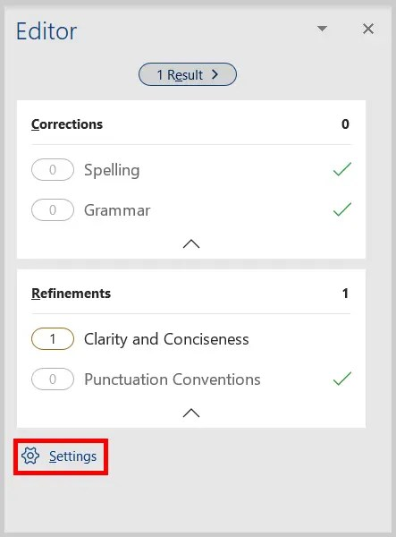 Image of Word 2019 / Word 365 Settings Button in the Editor Pane
