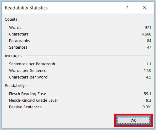 Image of the Readability Statistics Dialog Box in Word 2019 / Word 365