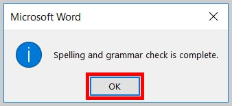Image of the Spelling and Grammar Check Completion Dialog Box in Word 2019 / Word 365