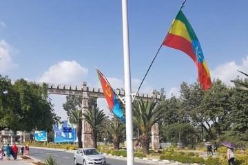 Eritrea flag Bole Airport Addis Ababa