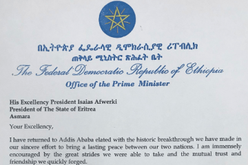 PM Abiy's letter to President Isaias