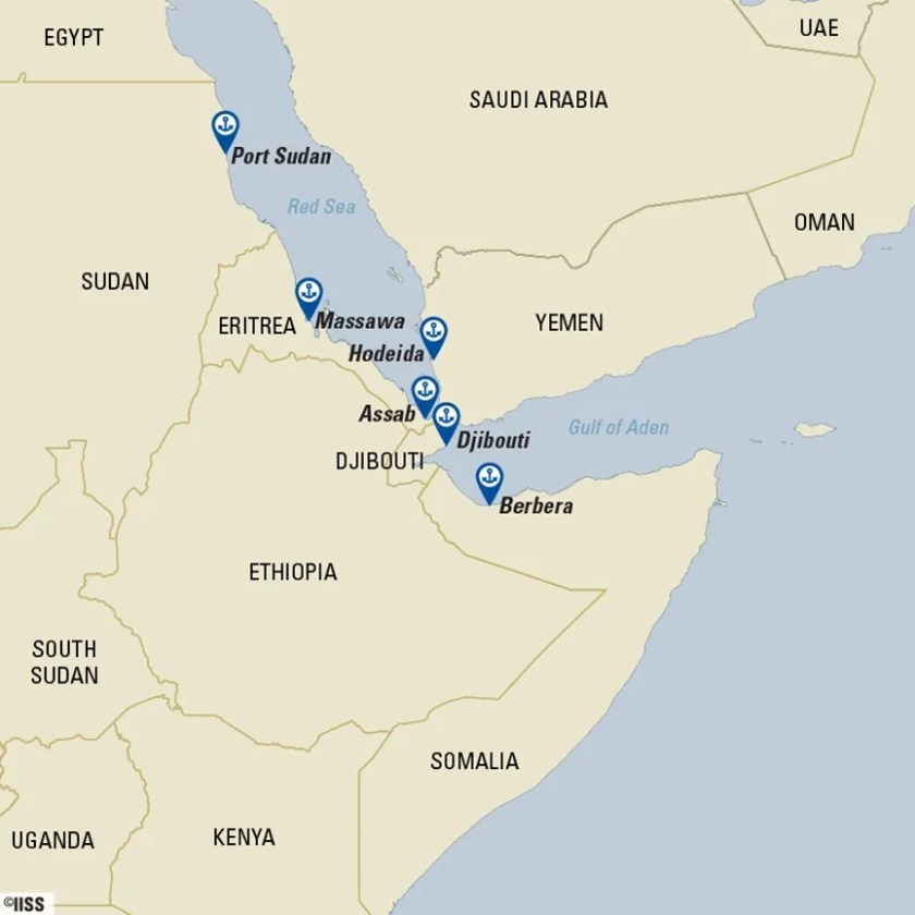 Red sea military bases map iiss