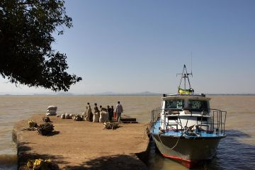 Ethiopian Navy Military ships, the GB-21 patrol boat is seized with rescue and patrol operations at Lake Tana