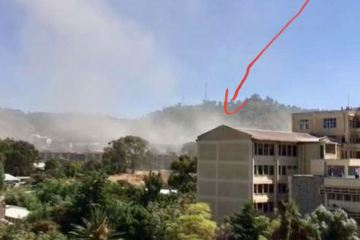 Explosion from missile or drone, Mekelle