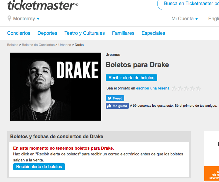 Venta de boletos Drake Ticketmaster