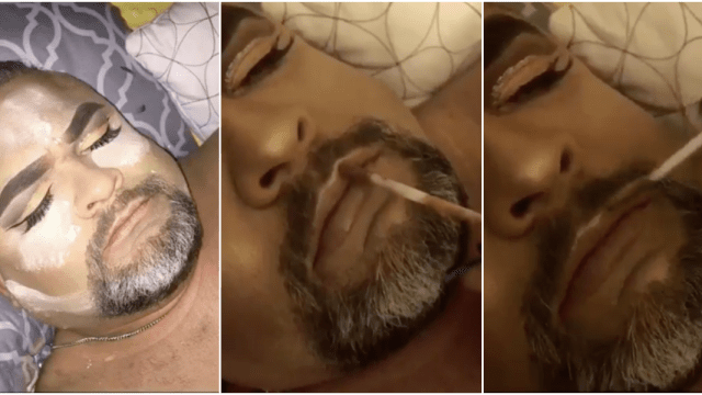 Maquilló a su papá mientras él dormía y el resultado fue impecable