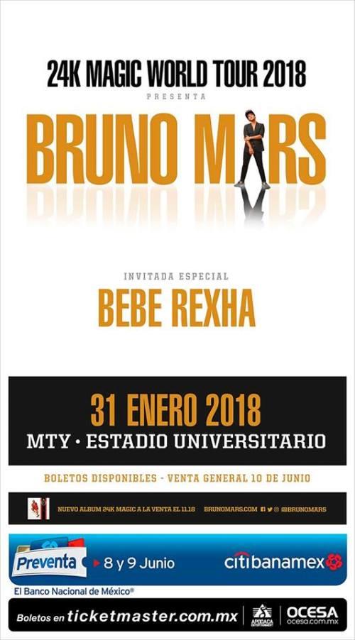 El tour 2018 de Bruno Mars llega a