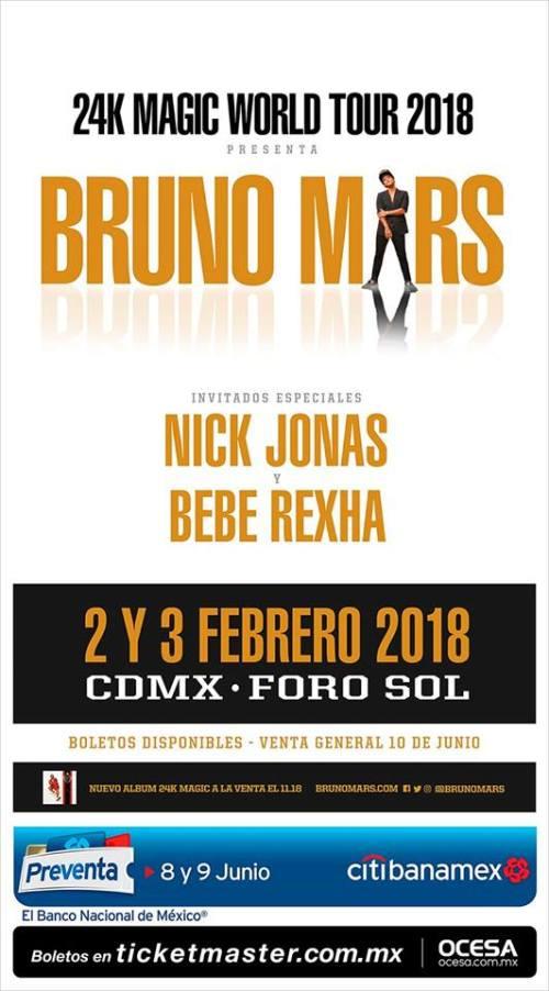 El tour 2018 de Bruno Mars llega a México