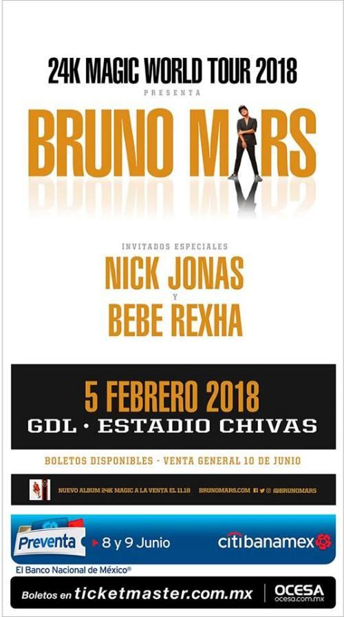 México recibe a Bruno Mars en 2018