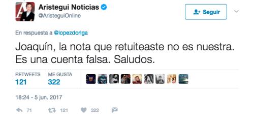 Aristegui tuvo que aclarar que esa no era su cuenta