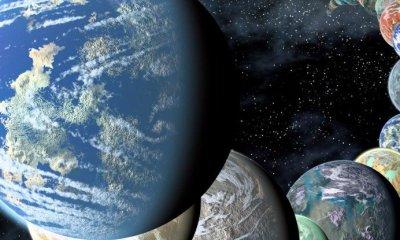 Ilustración de exoplanetas parecidos a la Tierra