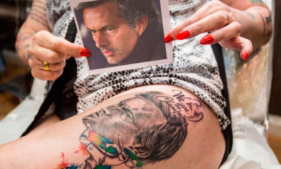 Tatuaje de Jose mourinho pierna