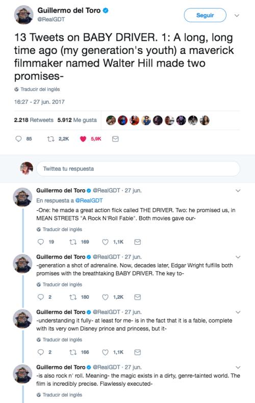 Guillermo del Toro escribió sobre Baby Driver
