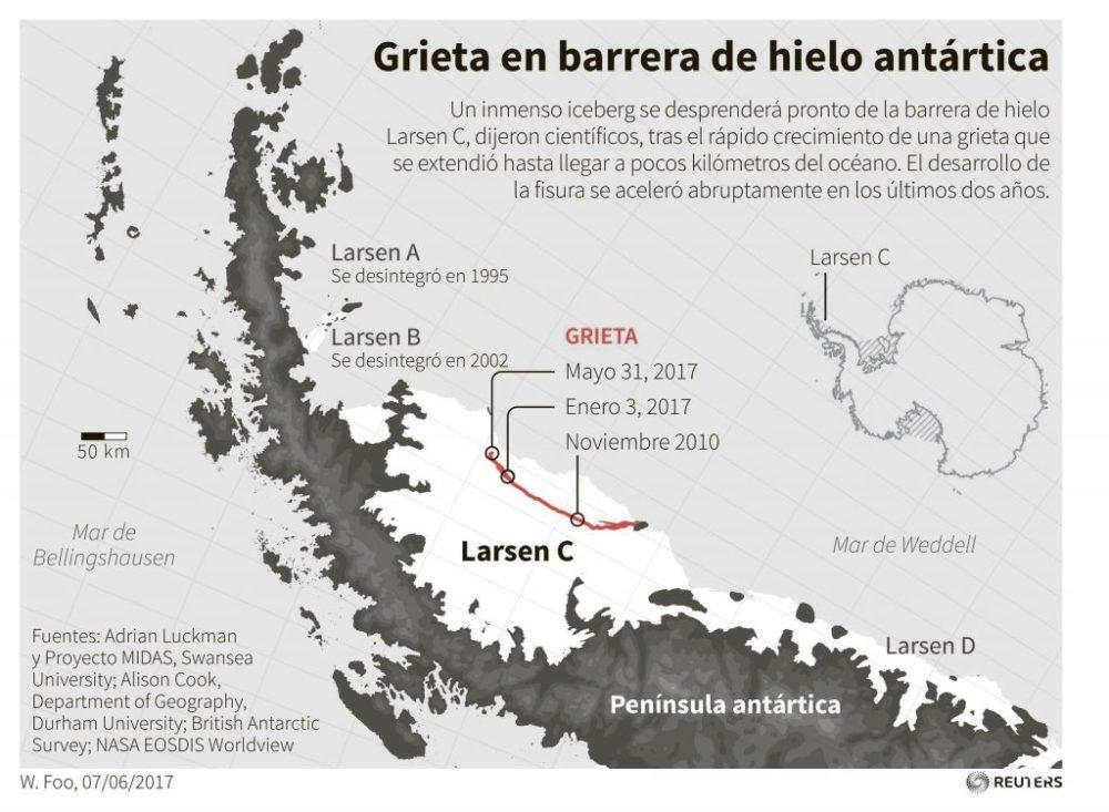 Barrera de hielo Larsen en la Antártida