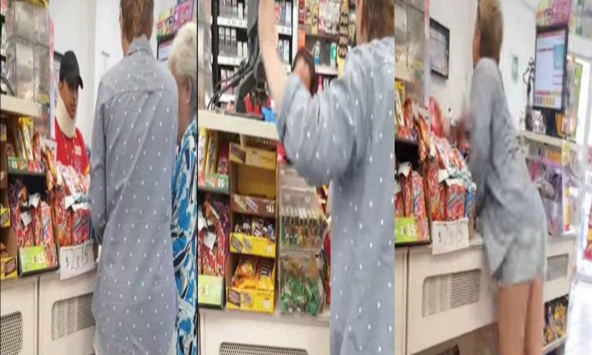 Cachan a ancianita robando cacahuates de un OXXO