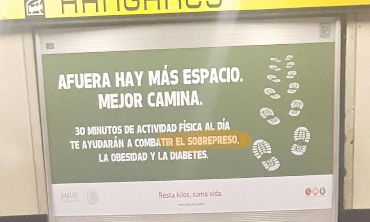 Secretaría Salud campaña Metro errores ortográficos