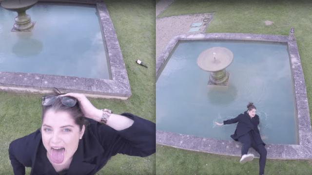 chava empapada, tropieza fuente, mujer mojada, drone