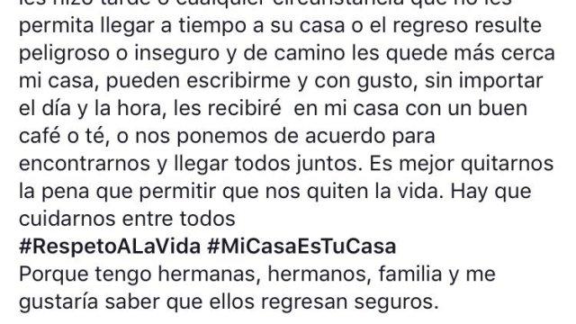 Mensaje solidario #MiCasaEsTuCasa, tras el asesinato de Mara Castilla