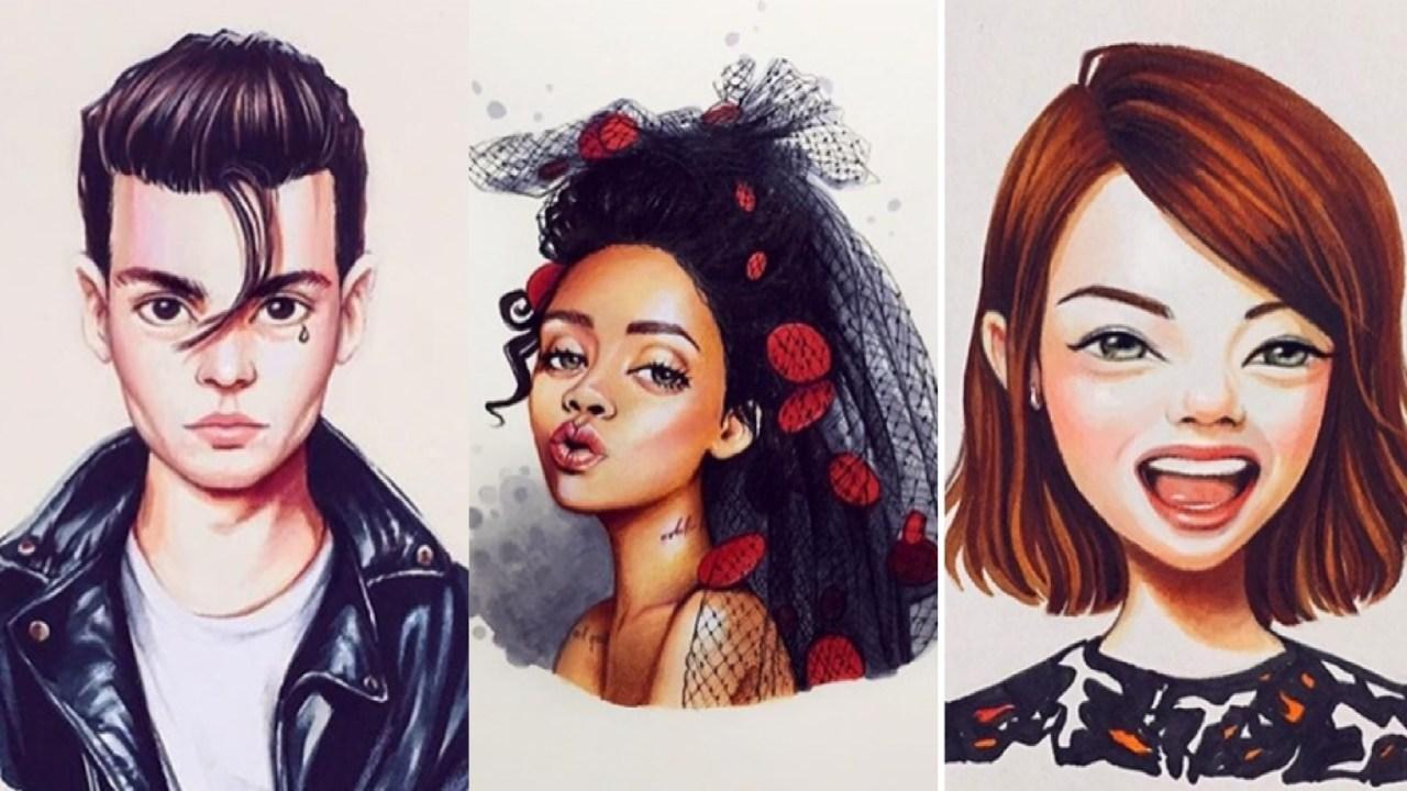 Caricaturas, Rihanna, Johnny Deep, Diseño, Celebridades, Lera Kiryakova, Diseñadora, Emma Stone