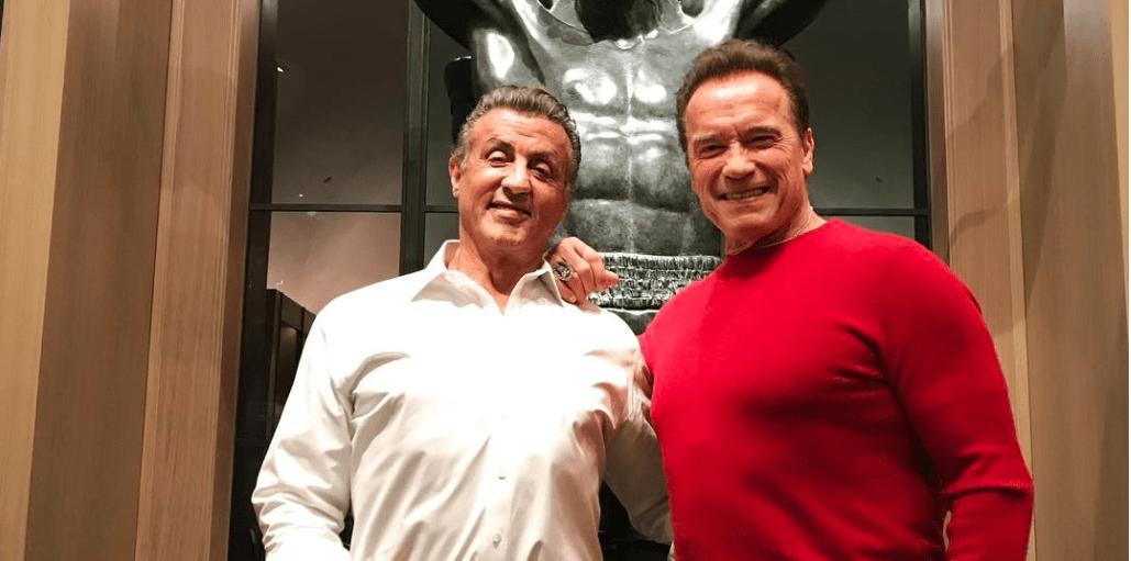 Arnold Schwarzenegger y Sylvester Stalone en Navidad. Instagram
