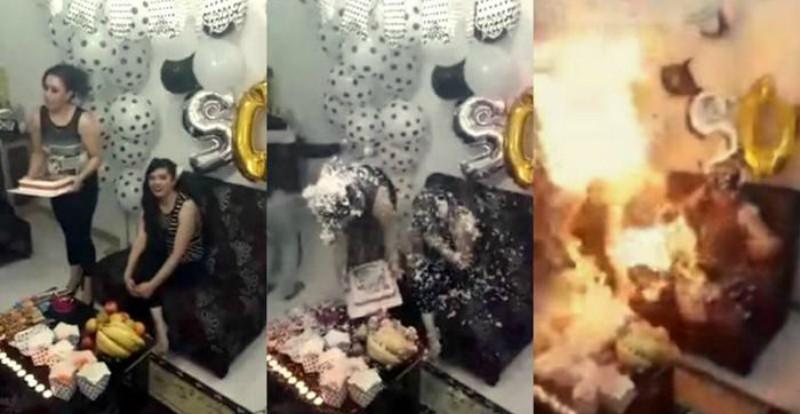 Joven arde en llamas al soplar velitas de pastel de cumpleaños