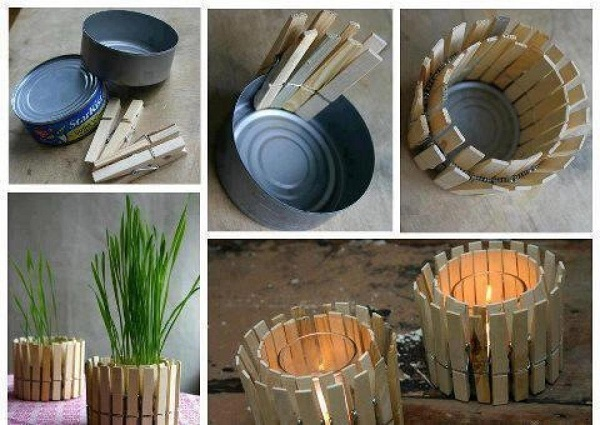Recipiente hecho de pinzas de madera para ropa