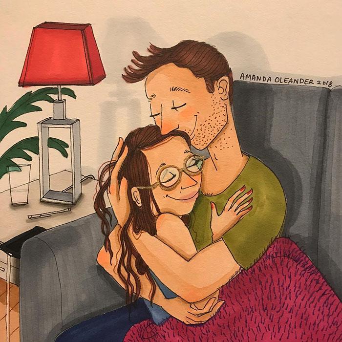 Ilustraciones-dibujos-relaciones-largas-parejas-reconoceran-tiernos-abrazo-sillon