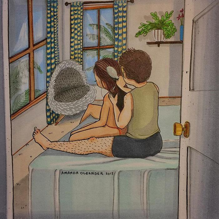 Ilustraciones-dibujos-relaciones-largas-parejas-reconoceran-tiernos-cepillar-pelo