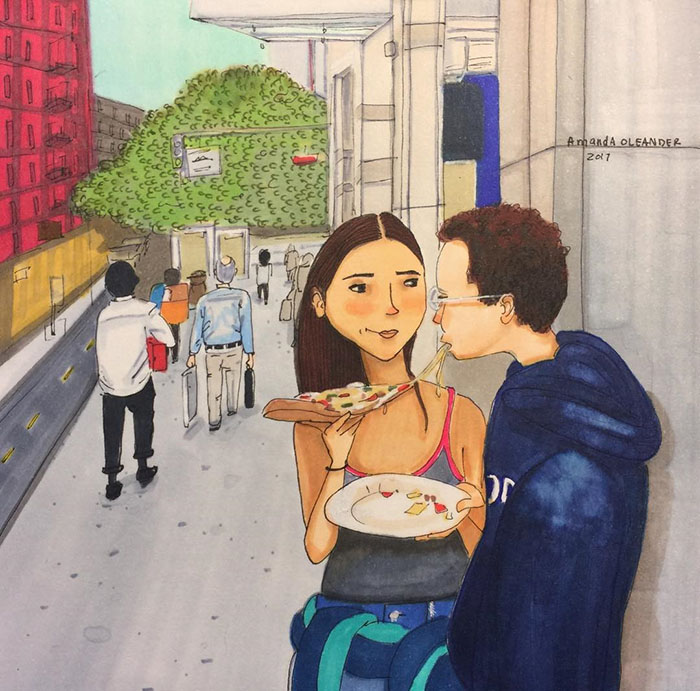 Ilustraciones-dibujos-relaciones-largas-parejas-reconoceran-tiernos-compartir-pizza