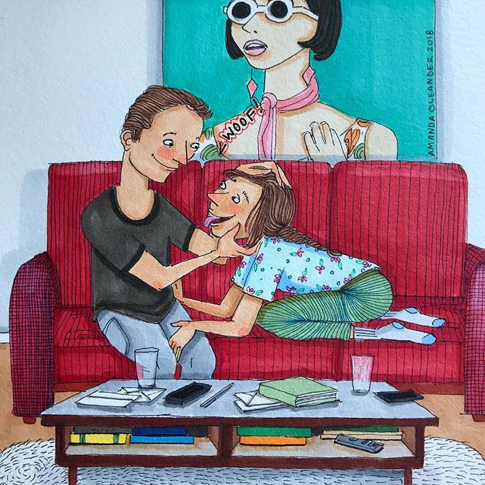 Ilustraciones-dibujos-relaciones-largas-parejas-reconoceran-tiernos-convertirse-en-perrito
