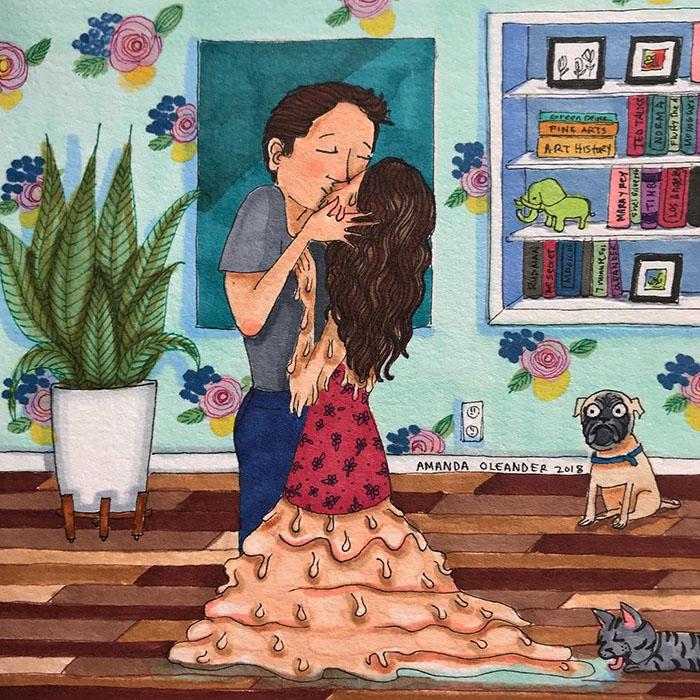 Ilustraciones-dibujos-relaciones-largas-parejas-reconoceran-tiernos-derretirse-beso