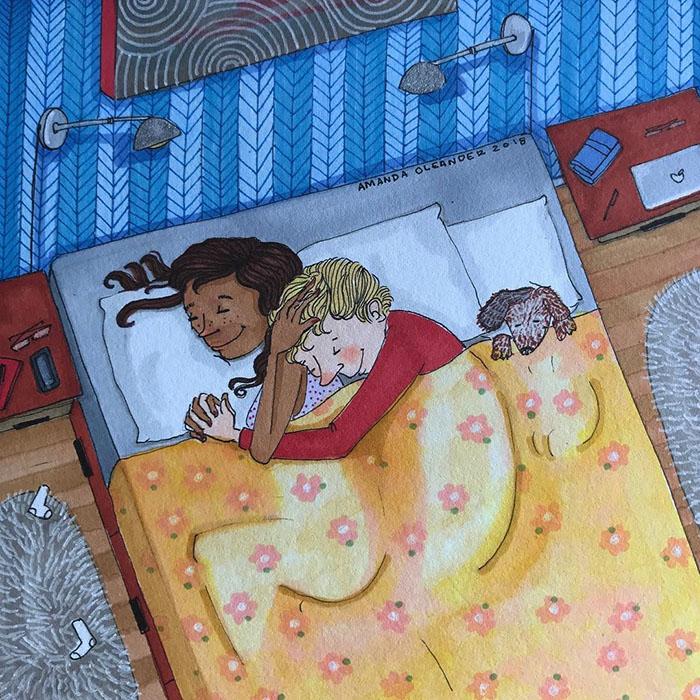Ilustraciones-dibujos-relaciones-largas-parejas-reconoceran-tiernos-dormir-abrazo-perrito