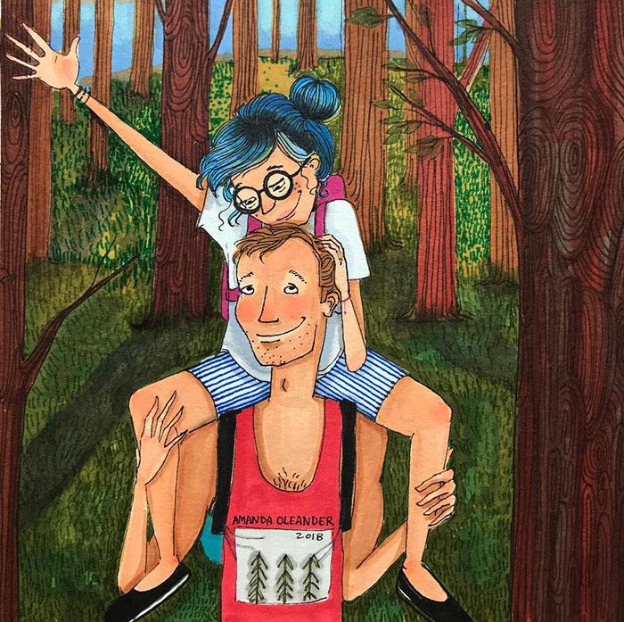 Ilustraciones-dibujos-relaciones-largas-parejas-reconoceran-tiernos-pasear-bosque