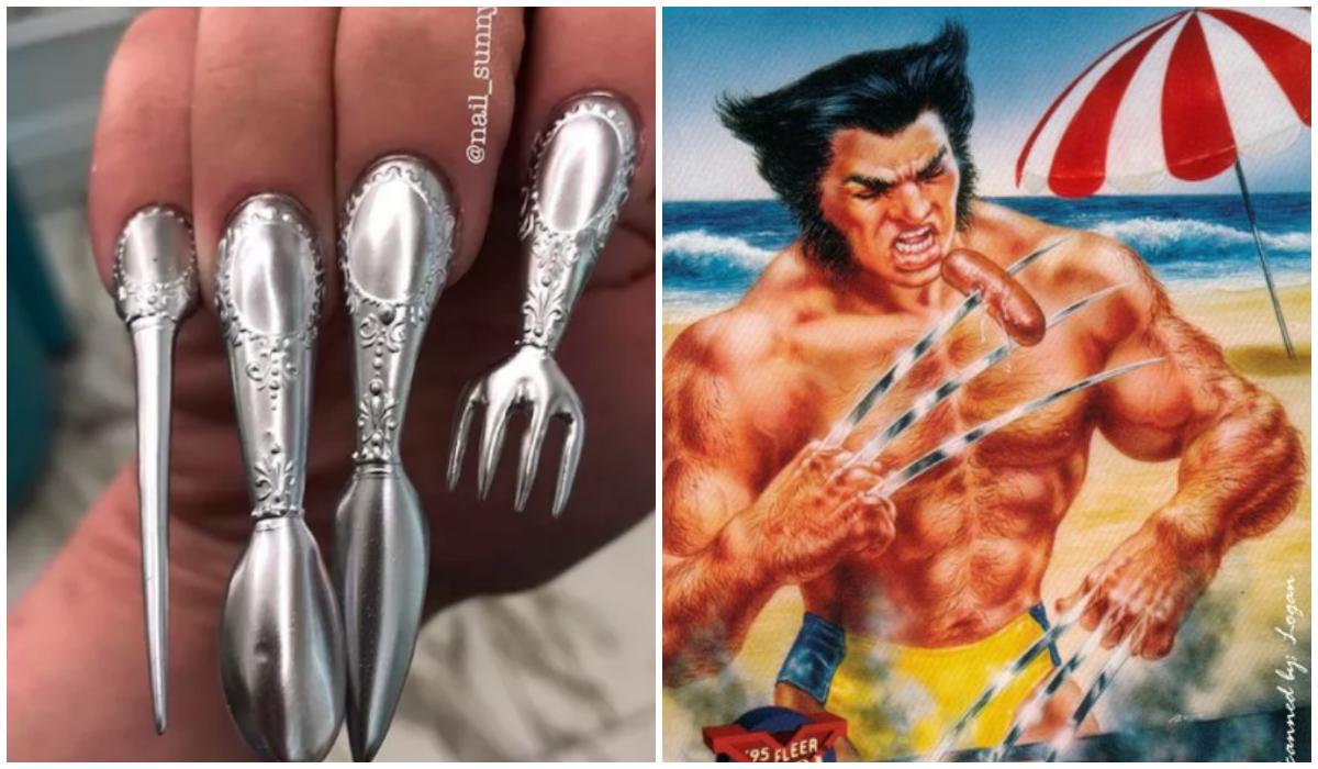 Uñas Wolverine Cubierto Tenedor Oficina Comida