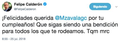 Felipe Calderon Felicita a Margarita Zavala
