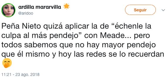 Peña Nieto: culpa de derrota del PRI a Meade, no a él