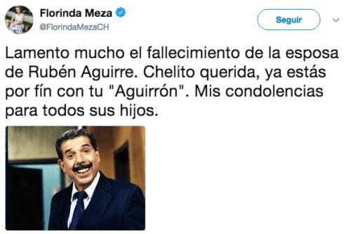 Florinda Meza envía condolencias muerte esposa ruben aguirre