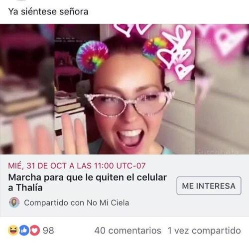 Marcha para que Thalía deje de publicar