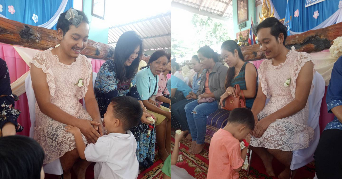 Papá Soltero Se Pone Vestido Festejar Día Madres, Papá Soltero Vestido Tailandia, Papá Soltero Tailandia, Tailandia, Papá Soltero, Se viste De Mamá