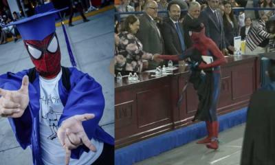 Fue a su graduación disfrazado de Spiderman