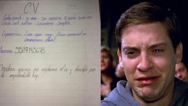 Escribió su CV a mano porque no tenía ni para imprimir