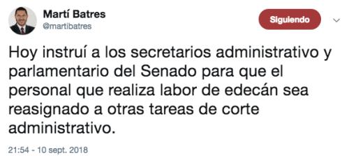 Martí batres elimina a las edecanes del senado