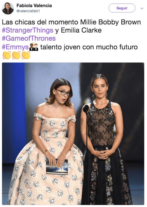 Emilia Clarke y Millie Bobby Brown juntas en los Emmy Awards