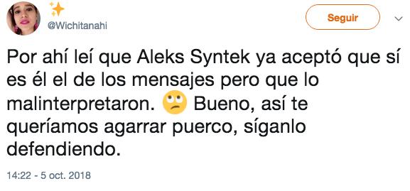 Aleks Syntek aceptó acosar menor; no sabe qué significa sexy