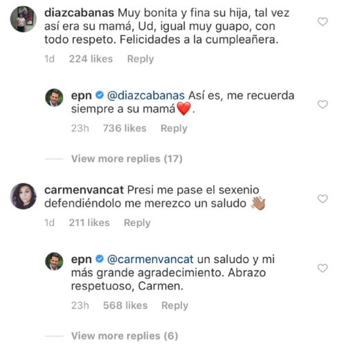 Enrique Peña Nieto responde comentarios en Instagram