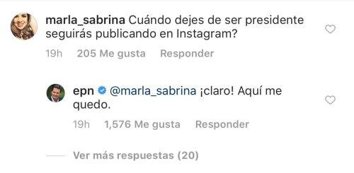 Enrique Peña Nieto responde en Instagram