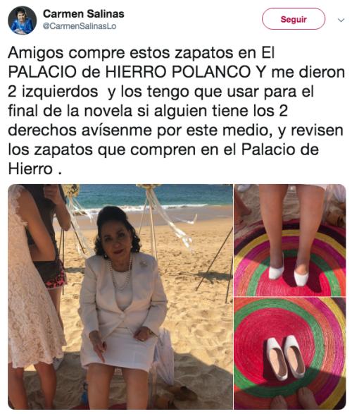 Le venden par izquierdo de zapatos a Carmen Salinas