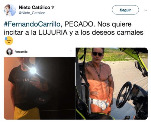Fernando Carrillo publica foto con erección